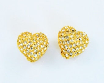 Joan Rivers Pave Heart Earrings - Gold Tone with Crystals Clip On - S1496