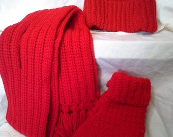 Crocheted Red Hat, Scarf and Mittens