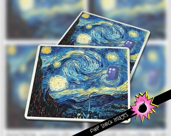 "DOCTOR WHO Van Gogh Starry Night Coaster Kit - 3.8"" Square Images for Tags or Coasters - DIY Coaster Images Printable - Instant Download Kit"