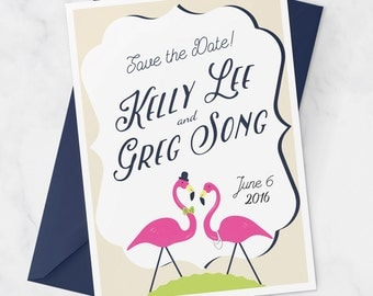 Preppy Wedding Save the Date Postcard with Flamingos, Flamingo wedding fun save the date PDF, navy and pink flamingo printable wedding