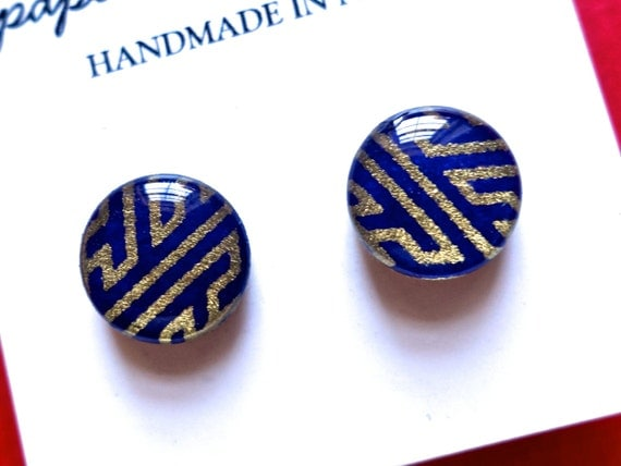 Navy Geometric Stud Earrings, Studs, Japanese Paper Earrings, Paper Jewelry, Chiyogami Earrings, Japanese Paper Jewelry, Studs, Navy Studs