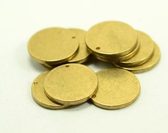 "10 pcs. 20 mm (25/32"" ) Raw Brass 12 gauge (2 mm thick ) Solid Brass Stamping Blanks  1 Hole"