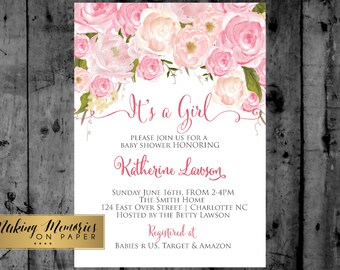 Pink Floral Baby Shower Invitation, Watercolor Flowers Invitation, Floral Invitation, Shower Invitation, DIY, Floral Invite, Flower Invite