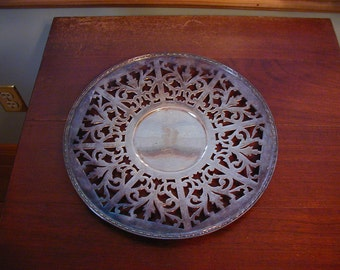 Lovely 10 inchSheffield Repoduction silver plate tray with engraved Y very fancy and beautiful cutout work in tray