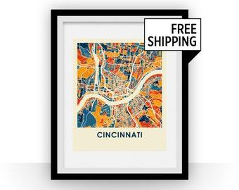 Cincinnati Map Print - Full Color Map Poster