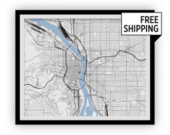 Portland Map Print - Choose your color