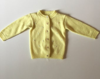 Vintage Yellow Cardigan with Pink Floral Detail
