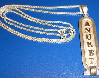 """Silver & Gold Cartouche Engraved Name """"ANUKET"""" Vintage Necklace Sterling 925 Chain"""