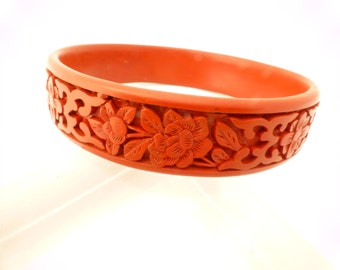 Carved Flower Red Cinnabar Resin Bracelet Bangle