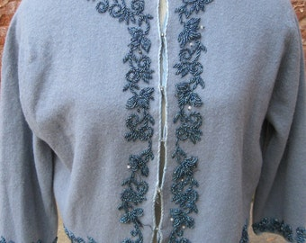 Vintage 1950'S Beaded Wool Sweater