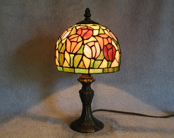 Stained Glass Lamp - Floral and Rose Motif