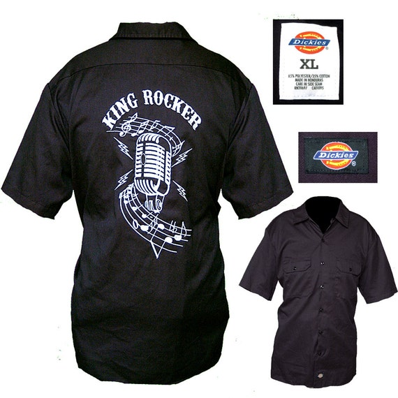 Embroidered dickies rockabilly shirt mens rocker shirt for Embroidered dickies work shirts
