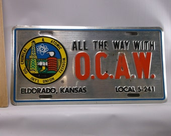 Man Cave licence plate Oil, Chemical and Atomic Workers International Union Butler county car tag Kansas.epsteam