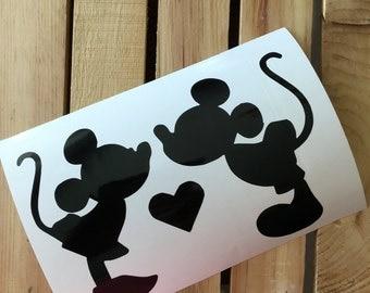 Mickey and Minnie Kiss Silhouette Vinyl Decal Sticker