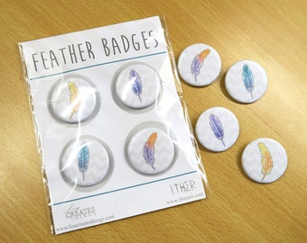 Feather - 35mm Badge / Buttons - Individual or in a pack
