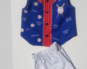 New handmade Toddler boys shorts outfit, boys ensemble, baseball, hand painted, boutique, boys summer clothes, size 2T