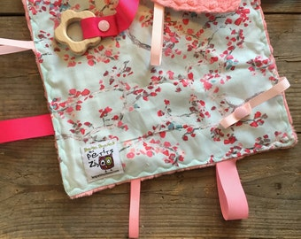 Baby Little toy blanket, cherry trees. blankie. ribbons blanket minky side can be blue, grey or coral