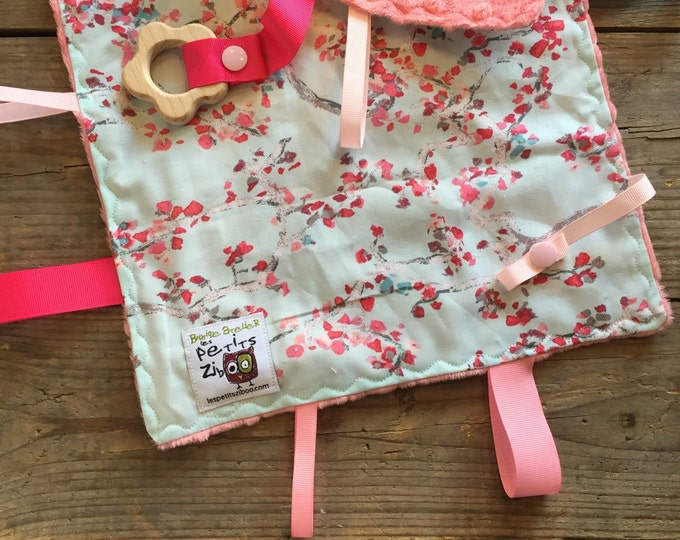 Featured listing image: Baby Little toy blanket, cherry trees. blankie. ribbons blanket minky side can be blue, grey or coral