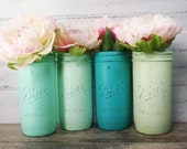 4- Hand Painted Pint And a Half Wide Mouth Mason Jar Flower Vases- Sea Foam Collection-Country Decor-Cottage Chic-Shabby Chic-French Chic