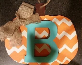 Chevron wooden pumpkin with initial