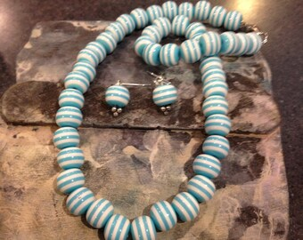 Blue and White Stripe  Necklace and earrings