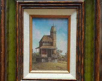 Vintage Gene Waggoner Oil Painting, House with Widow Walk, 1978. Framed, Signed.