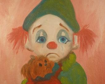 Vintage Clown Oil Painting Child Portrait Big Eye Art Original Circus Decor Little Boy with Terrier Dog Unusual on Board