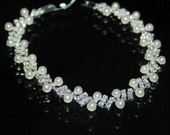 Bridal Rhinestone Created Pearl Crystal Bracelet Prom Pageant Jewelry