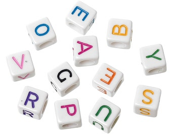 100 white cube beads with coloured letters 6 mm