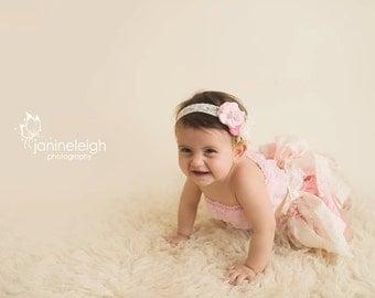 Pink Cream Lace Headband, Baby Girl  Headband with Tulle flowers, Gray lace headband