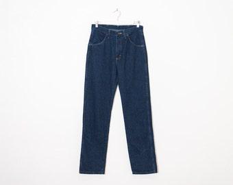 on sale - semi high waist blue jeans / dark wash straight leg denim / size 27