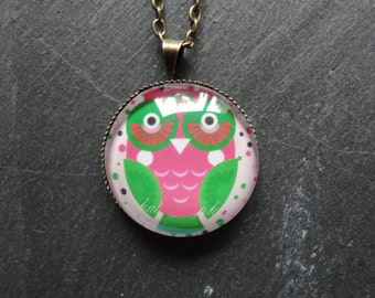 Necklace Owl green pink Glass
