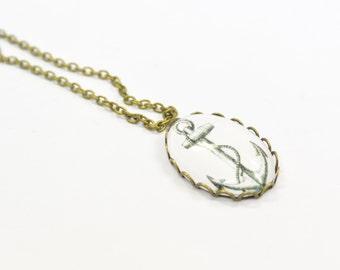 Necklace Anchor black white