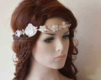 Wedding Hair vine, wedding Lace headband, Lace Bridal headband, Bridal Hair Accessory, Wedding Hair Accessories