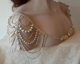 Wedding Dress Shoulder, Wedding Dress Accessory, Bridal Epaulettes, Rhinestone and Pearl Shoulder, Wedding  Accessory