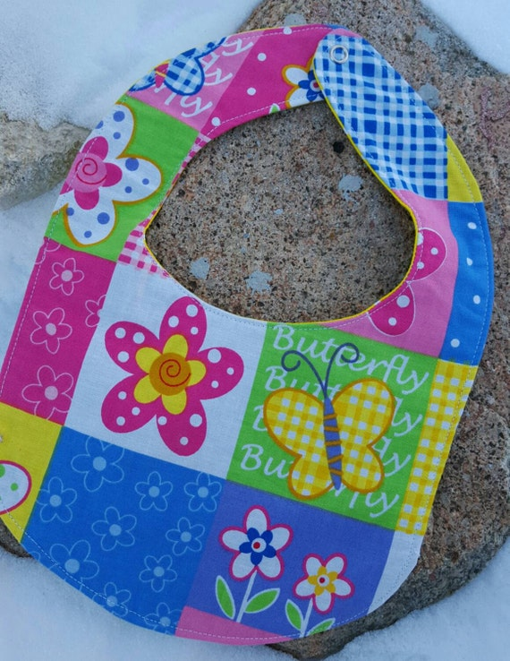 Butterfly Baby Bib, Reversible Girl's Baby Bib