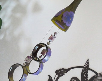 Wine bottle wind chime, Recycled glass bottles, yard art, patio decor, brown glass, Purple flowers, Gift idea