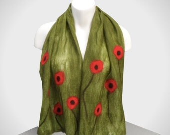 Green poppy scarf, gift boxed, nuno felted, wool on silk