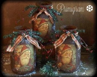 Primitive Christmas Folk Art Santa Jar Luminere Pine, Ripped Homespun, Berries