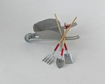Fairy Garden accessories tools  set of three, terrarium supplies, miniature wheelbarrow shovel spade pitch fork miniatures for fairy garden