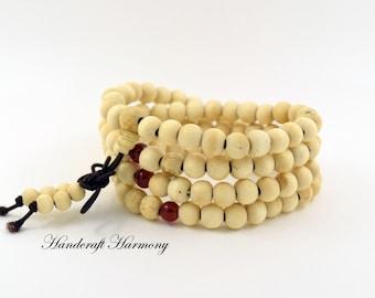 Mala Beads, Buddhist Bracelet, 108 Mala, Wood Bead Mala, Wooden Mala, Prayer Beads, Mala for Women, White MALA Bracelet, Sandalwood Mala