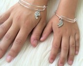 Mommy and Me, Mother Daughter Charm Bangle Bracelet - Gifts for Her