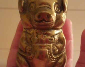 Vintage Solid Brass Pig With  Overalls Figurine