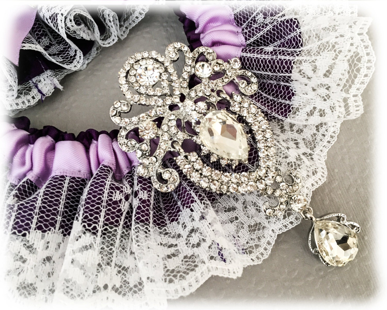 Bridal Garter Set Cadbury Purple Wedding Garter Set Crystal