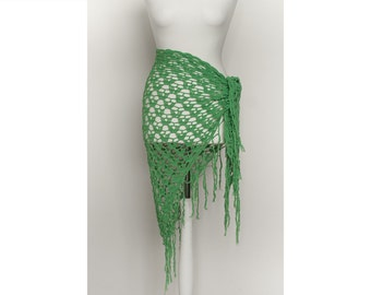 Vintage grass green crochet triangle Shawl with fringes. Boho, Gypsy Lace Scarf. Knitted, Festival,Belly dance, Fresh green cover up.