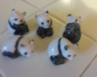 Five Miniature Pottery Pandas