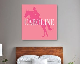 Horse Wall Art, Girlu0027s Equestrian Bedroom Decor, Preppy Horse CANVAS,  Bubble Gum Pink