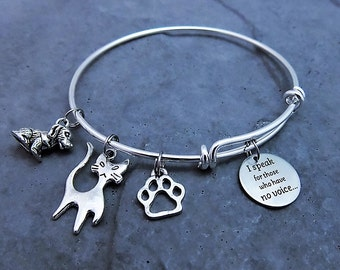 I Speak for Those with No Voice - Pet Adoption Gift - Charm Bracelet - Animal Rescue Jewelry - Expandable Bangle - Cat - Dog - Pets