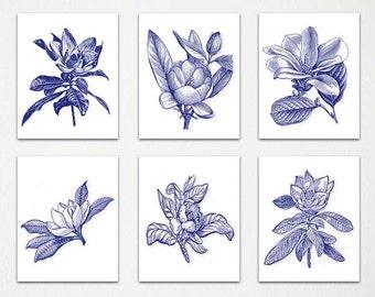 Navy Blue White Wall Art, Navy White, Botanical, Botanical Prints, Blue White Decor,  Chinoiserie, Floral Print, Blue Botanical