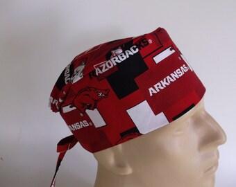 Arkansas Razorbacks fabric Men's scrub hat with sweatband option - scrub cap, Bakers hat, 3-2160